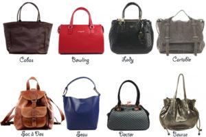 Les différents types de sacs et façons de les porter.